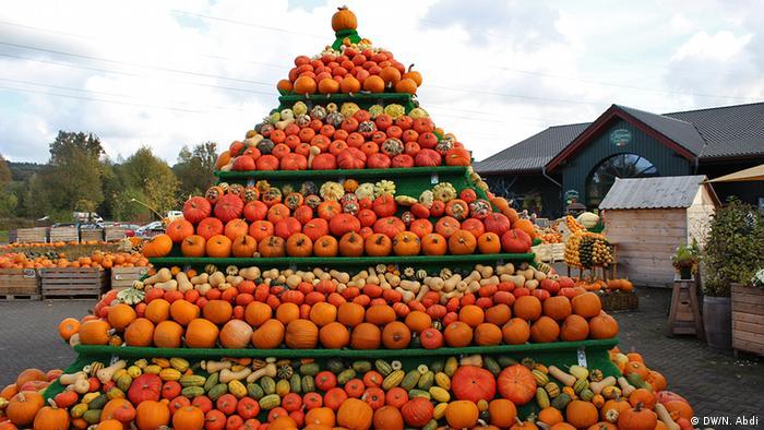 Pyramid shaped statue of colourful Pumpkins, Photo: Nuradin Abdi