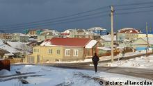 Wohnsiedlung auf Kurilen-Insel Kunaschiri