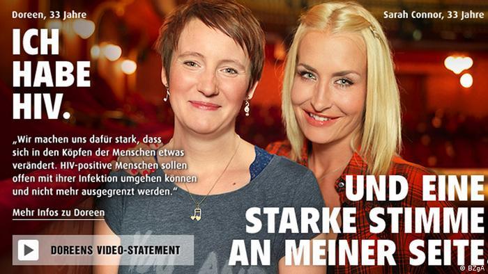 Plakat-Motiv zum Welt-Aids-Tag mit Popsängerin Sarah Connor (rechts im Bild) - Foto: BZgA