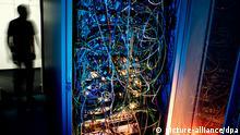 LUSTRATION - Ein Mann steht am 01.07.2013 in Hannover neben einem Serverschrank mit Netzwerkkabeln. Foto: Julian Stratenschulte/dpa pixel