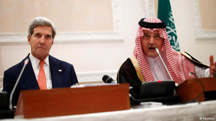 U.S. Secretary of State John Kerry (L) participates in a joint press conference with Saudi Arabia's Foreign Minister Prince Saud Al-Faisal bin Abdulaziz al-Saud, in Riyadh, November 4, 2013. REUTERS/Jason Reed (SAUDI ARABIA - Tags: POLITICS)