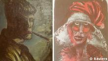 A combination of two formerly unknown paintings by German artist Otto Dix are beamed to a wall November 5, 2013, in an Augsburg courtroom during a news conference held by state prosecutor Reinhard Nemetz and expert art historian Meike Hoffmann from the Berlin Free University. A Jewish group accused Germany on Monday of moral complicity in concealment of stolen paintings after it emerged authorities failed for two years to report discovery of a trove of modern art seized by the Nazis, including works by Picasso and Matisse. Customs officials' chance discovery of 1,500 artworks in a Munich flat owned by Cornelius Gurlitt, the reclusive elderly son of war-time art dealer Hildebrand Gurlitt, who was authorized by Hitler�s propagandist minister Joseph Goebbels to sell art the Nazis stole, was revealed in a report by news magazine Focus over the weekend. The art works missing for more than 70 years could be worth well over one billion euros. Picture at left shows a self-portrait of Otto Dix smoking. REUTERS/Michael Dalder (GERMANY - Tags: ENTERTAINMENT CRIME LAW POLITICS SOCIETY)