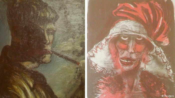 A combination of two formerly unknown paintings by German artist Otto Dix are beamed to a wall November 5, 2013, in an Augsburg courtroom during a news conference held by state prosecutor Reinhard Nemetz and expert art historian Meike Hoffmann from the Berlin Free University. A Jewish group accused Germany on Monday of moral complicity in concealment of stolen paintings after it emerged authorities failed for two years to report discovery of a trove of modern art seized by the Nazis, including works by Picasso and Matisse. Customs officials' chance discovery of 1,500 artworks in a Munich flat owned by Cornelius Gurlitt, the reclusive elderly son of war-time art dealer Hildebrand Gurlitt, who was authorized by Hitler�s propagandist minister Joseph Goebbels to sell art the Nazis stole, was revealed in a report by news magazine Focus over the weekend. The art works missing for more than 70 years could be worth well over one billion euros. Picture at left shows a self-portrait of Otto Dix smoking. Photo: REUTERS/Michael Dalder