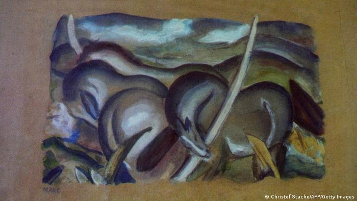 Franz Marc, 'Landscape with horses' (Photo credit should read CHRISTOF STACHE/AFP/Getty Images)