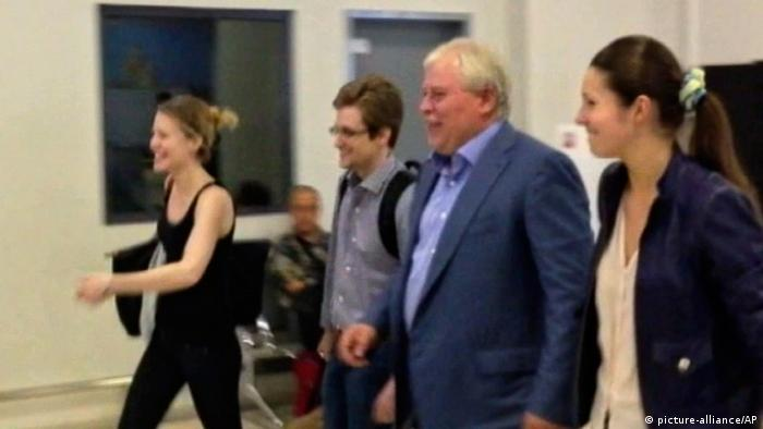 Snowden with Kucherena and Harrison at Sheremetyevo airport AP Photo/Russia24 via Associated Press Television