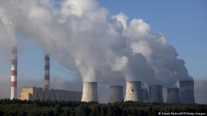Stacks at the Elektrownia Belchatow coal-fired power plant in Poland