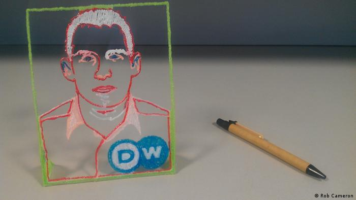 Reporter Rob Cameron's portrait drawn with the 3Dsimo (Photo: Rob Cameron)