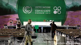 The Climate conference logo inside the National Stadium in Warsaw(EPA/TOMASZ GZELL)