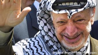 Yasser Arafat waves at the 2003 file photo (Jamal Aruri/AFP/Getty Images)