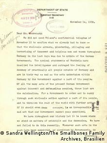 Report by Robert T. Smallbones on the November 1938 pogroms (Sandra Wellington/The Smallbones Family Archives, Brasilien)