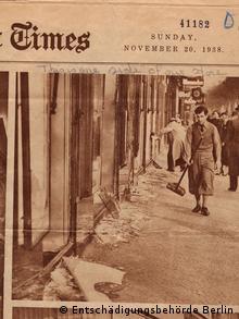 Ausgabe der New York Times vom 22.11.1938, auf dem Cover ein Bild des von den Novemberpogromen zerstörtem Berliner Kurfürstendamm (Copyright: Entschädigungsbehörde Berlin)