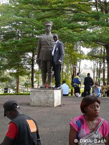 People are gathering in front of the memorial for Charles Atangana in Yaounde, Cameroon.