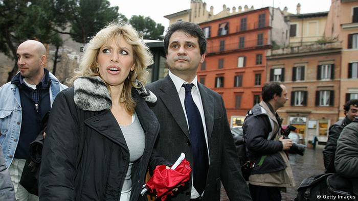 Alessandra Mussolini, head of the extreme-right party A.S. (Social Action) and granddaughter of former Italian dictator Benito Mussolini, walks with Roberto Fiore, leader of Forza Nuova in the streets of Rome.
