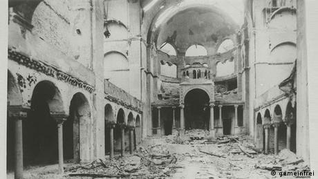 Interior view of the destroyed Fasanenstrasse Synagogue, in Berlin