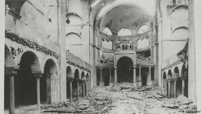 The burnt out remains of the synagogue on the Fasanenstrasse in Berlin in November 1938