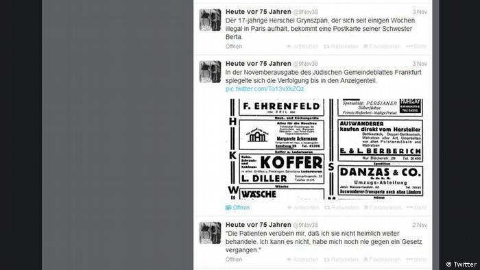 Titel: Twitterkanal @9Nov38 Beschreibung: Fünf junge Historiker erzählen in einem Twitterkanal die Geschichte der Novemberpogrome von 1938 Achtung: Nur im Zusammenhang mit der Berichterstattung über diese Website verwenden!