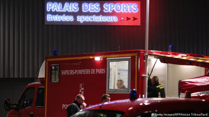 French firefighters arrive at the Palace of Sports at the Porte de Versailles in Paris following a blast on November 8, 2013. At least seven people were injured when an accidental explosion took place during a rehearsal of the musical 1789, The Lovers of Bastille. AFP PHOTO/KENZO TRIBOUILLARD (Photo credit should read KENZO TRIBOUILLARD/AFP/Getty Images)