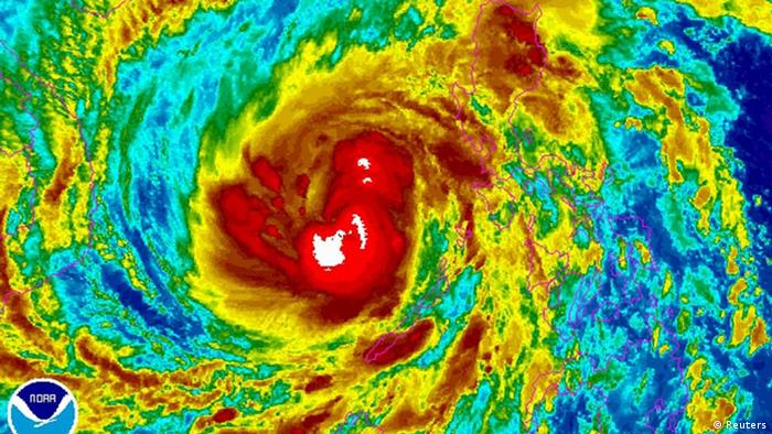 Typhoon Haiyan on a satellite photo