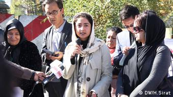 Zahra Farkhonda Naderi a member of Afghanistan taking part in a protest rally in November 2013.