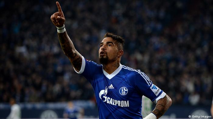 GELSENKIRCHEN, GERMANY - NOVEMBER 09: Kevin-Prince Boateng of Schalke celebrates after scoring his team's first goal during the Bundesliga match between FC Schalke 04 and Werder Bremen at Veltins-Arena on November 9, 2013 in Gelsenkirchen, Germany. (Photo by Sascha Steinbach/Bongarts/Getty Images)
