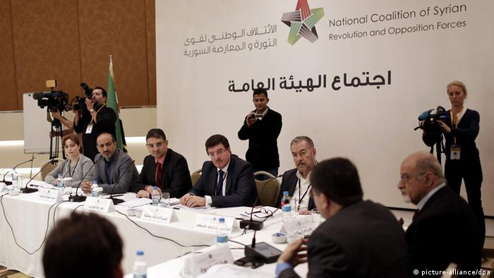 Member National Coalition Of Syria Suheir Atassi, Head of the Syrian National Coalition, Ahmad al-Jarba, Secretary General National Coalition of Syria Badr Jamous, Member National Coalition Of Syria Salim Muslit, Leaders of the exiled Syrian National Council (SNC), Muhammet Faruq Tayfur during a Syrian opposition groups meeting in Istanbul, Turkey, 09 November 2013. A plan for Syrian peace talks failed to materialize on 06 November 2013 after Russian, US and UN officials did not agree on when to hold them or which countries to invite, international envoy Lakhdar Brahimi said. EPA/SEDAT SUNA
