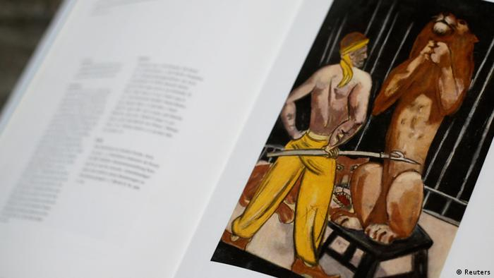 File photo of a print of the painting 'Lion-Tamer' by artist Max Beckmann is displayed in a book about the German expressionist at Lempertz auction house in Cologne November 4, 2013. In the art world, which thrives on discretion, it appears to have been an open secret that Cornelius Gurlitt was sitting on at least part of the collection of his father Hildebrand, who worked for the Nazis selling art branded degenerate that was taken from museums or stolen or extorted from Jews fleeing the Holocaust. To everyone else - including, apparently, the Gurlitt clan - it was a shock when authorities reluctantly confirmed a magazine report that a routine customs check had uncovered 1,406 works with a value up to one billion euros ($1.34 billion) hiding in plain sight in Gurlitt's Munich apartment. TO GO WITH INSIGHT STORY GERMANY-ART/ REUTERS/Wolfgang Rattay/Files (GERMANY - Tags: ENTERTAINMENT CRIME LAW POLITICS SOCIETY) NO ARCHIVES