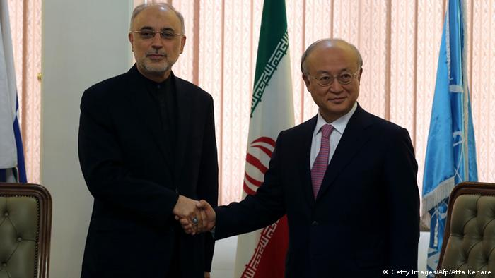 Head of Iran's Atomic Energy Organisation Ali Akbar Salehi (L) shakes hands with International Atomic Energy Agency (IAEA) Director General Yukiya Amano, during their meeting in Tehran on November 11, 2013. Amano arrived in the Iranian capital to discuss Iran's nuclear programme after top world diplomats fail to clinch a long-sought deal to curb Tehran's nuclear activities but insist they are narrowing the gaps. AFP PHOTO/ATTA KENARE (Photo credit should read ATTA KENARE/AFP/Getty Images)