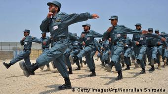 Cadets from the Afghan National Police (ANP) march during their graduation ceremony at a police training centre on the outskirts of Jalalabad on July 17, 2013.