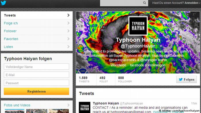 Screenshot Twitter-Account Typhoon Haiyan (Foto: twitter.com/typhoonhaiyan)