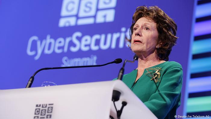 Neelie Kroes speaking at the Cyber Security Summit
