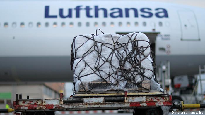 A loda of adi supplies being lifted into a Lufthansa plane at Frankfurt Airport Photo: Fredrik von Erichsen/dpa