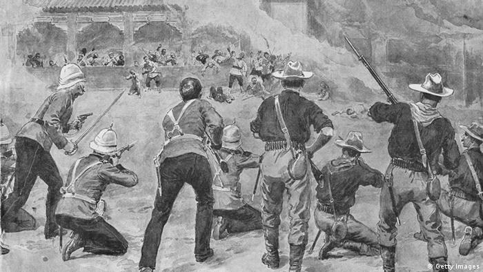 Pintura retrata combates em Pequim em 1900