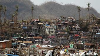 A view of the devastated city of Tacloban in Leyte province, Philippines after super typhoon Haiyan swept through.