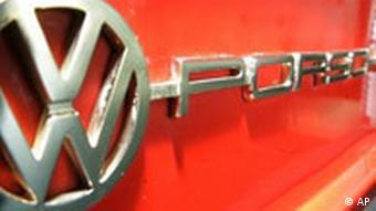 The logo of a VW-Porsche 914, a joint production of VW and Porsche in the seventies