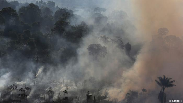 Smoke billows as an area of the Amazon rainforest is burnt to clear land for agriculture near Novo Progresso, Para State