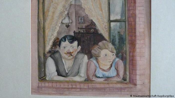 Wilhelm Lachnit's 'Mann und Frau am Fenster', Aquarell, 1923. This was one of the first 25 pieces to be published on lostart.de Photo: Staatsanwaltschaft Augsburg/dpa