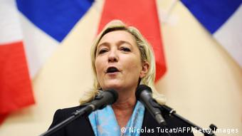 French far right party Front National (FN) leader Marine Le Pen speaks during a public party meeting in Bergerac, on November 9, 2013. AFP PHOTO / NICOLAS TUCAT (Photo credit should read NICOLAS TUCAT/AFP/Getty Images)
