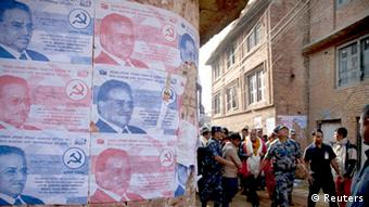 Election campaign posters of Unified Communist Party of Nepal (Maoist) are pictured during the election campaign of their party chairman Pushpa Kamal Dahal, also known as Prachanda, at Kritipur in Kathmandu October 29, 2013. (Photo: Reuters)
