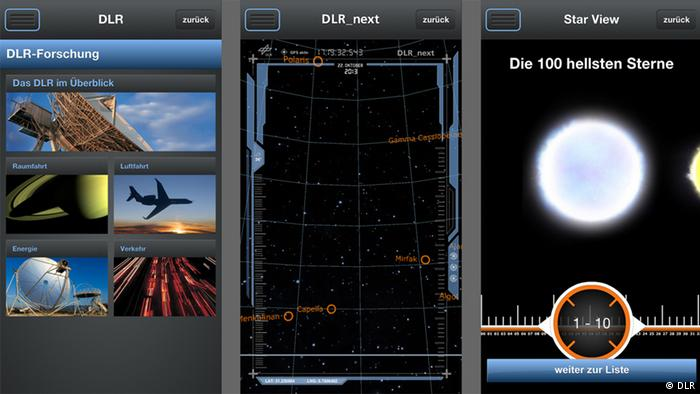 Screenshots of the DLR_next app Photo: DLR