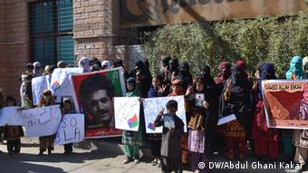A group of Baloch people protests in Karachi