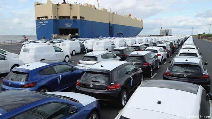 Volkswagen cars destined for export wait to be loaded onto a ship in Emden port