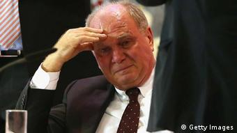 Uli Hoeness, President of FC Bayern Muenchen reacts during the FC Bayern Muenchen annual general meeting at Audi Dome (photo via Getty Images)