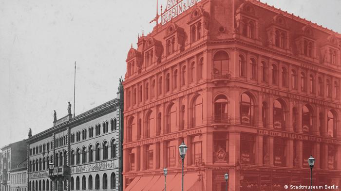 Außenansicht des Möbelhauses Hermann Gerson in der Werderstraße, um 1890