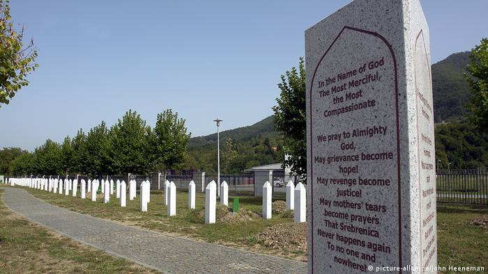 A memorial in Srebrenica commemorating the death of thousands of Bosnian Muslim men and boys