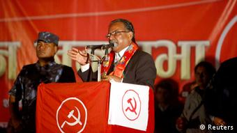 Chairman of the Unified Communist Party of Nepal (Maoist) Pushpa Kamal Dahal, also known as Prachanda, gives a speech during the party's election campaign in Kathmandu November 13, 2013. Nepalese are due to vote on November 19, for a constituent assembly meant to draw up a new constitution. REUTERS/Navesh Chitrakar (NEPAL - Tags: ELECTIONS POLITICS)