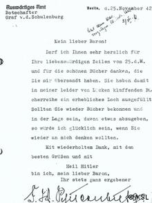 A scan of a black and white letter from Schulenburg to Künsberg, asking for more books Photo: KSL
