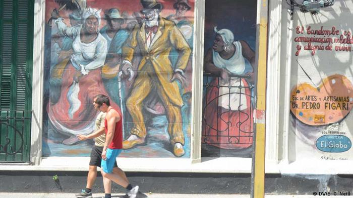 This mural in Montevideo's Palermo neighborhood recalls the neighborhood's history as a site of Afrouruguayan culture. (photo: Eilis O'Neill)