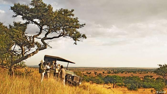 Three men stand on a hill next to their jeep and look off into the expanse of the Serengeti.