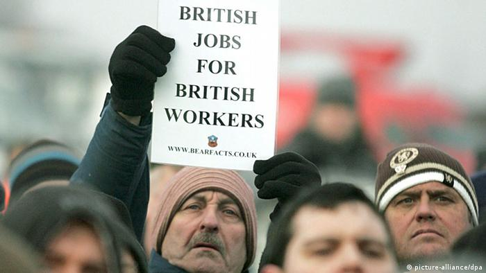 Workers of the Lindsey Oil Refinery in Immingham in the North East of England demonstrate against immigrants taking aay British jobs. The sign reads British jobs for British workers