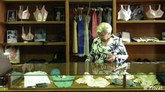 Meyer inspects the intimate apparel display at the Chemnitz. museum of Industry, Copyright: Private